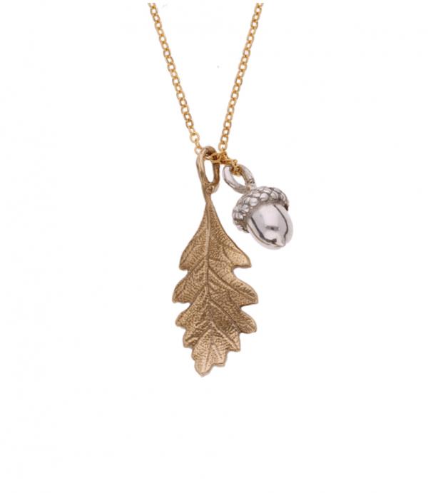 Acorn and Oak Leaf Pendant Bronze on plain