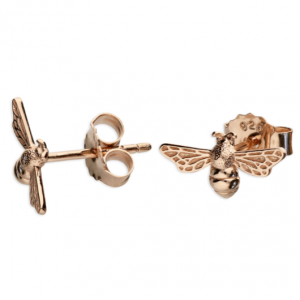Rose Gold Bee Tiny Stud Earrings