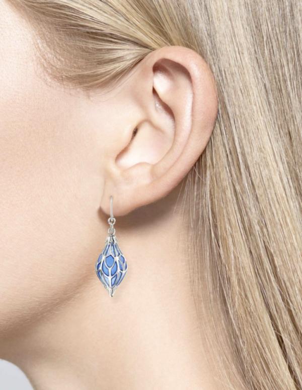 1920s lantern style earrings on model