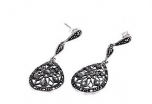 Evening Glamour Marcasite Earrings close