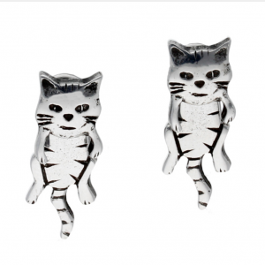 pewter dangle cat earrings