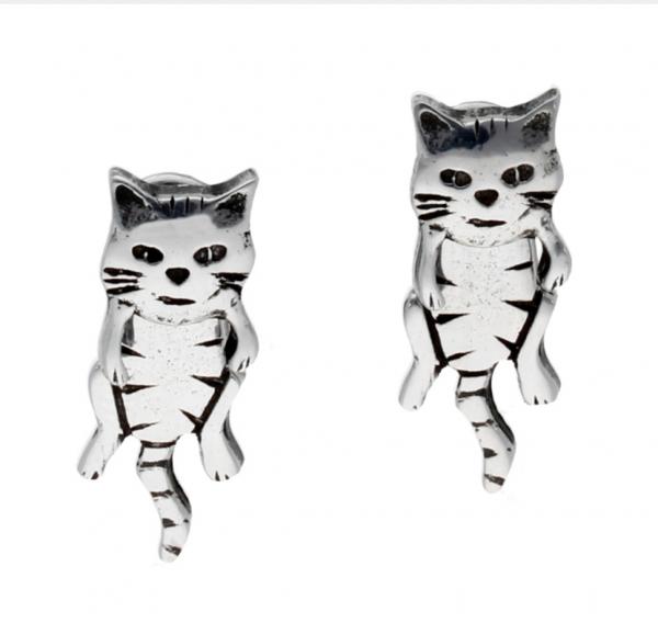 pewter dangle cat earrings