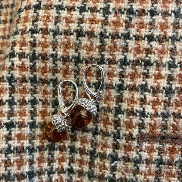 amber acorn earrings on tweed