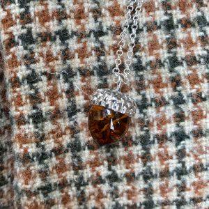 amber acorn pendant on tweed