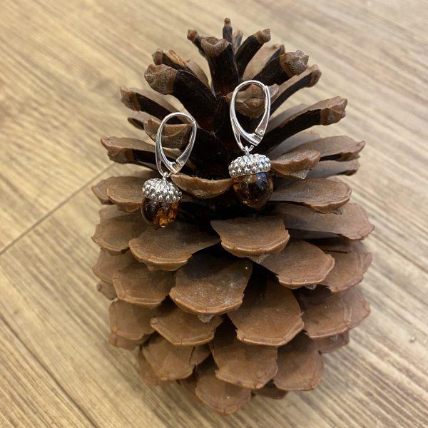 amber acorn earrings inside