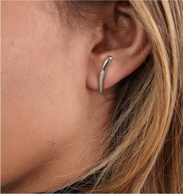 Diamond Drop Stud Earrings on model