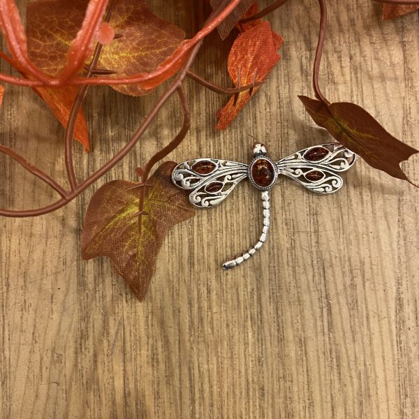 amber dragonfly brooch indoors