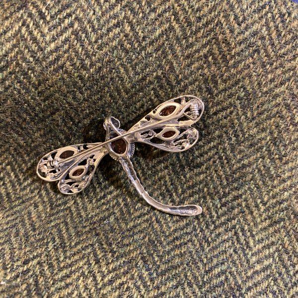amber dragonfly brooch reverse