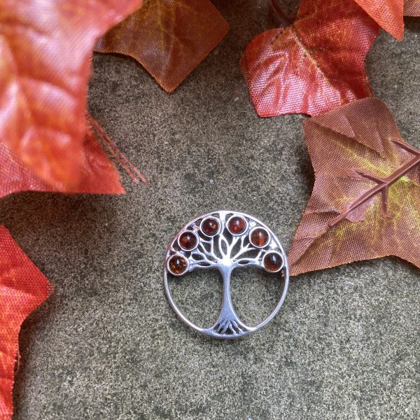 amber tree of life brooch outside