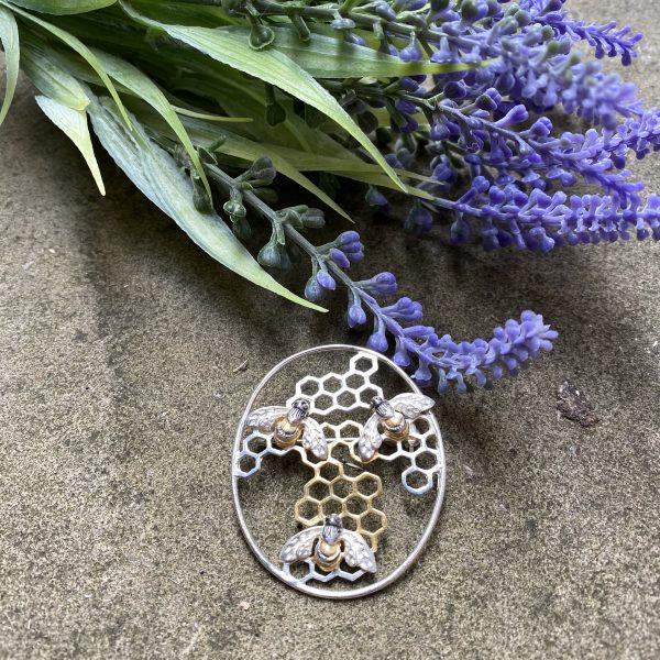 honeybee brooch with lavender