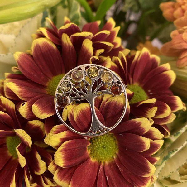 mixed amber tree of life brooch