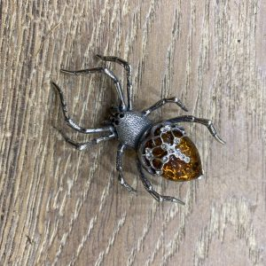 sparkly amber spider brooch