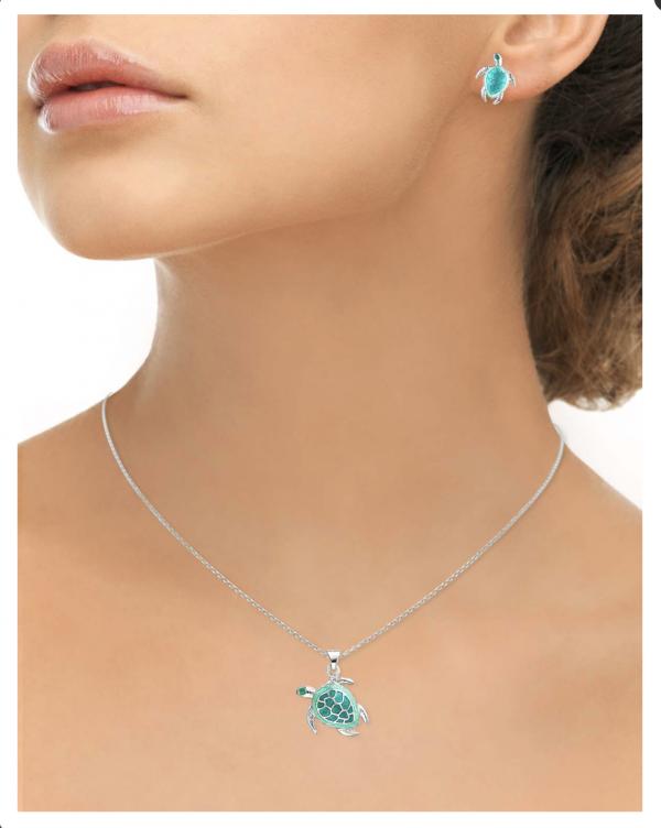 enamel turtle pendant on neck