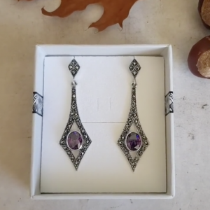violet sparkle marcasite earrings