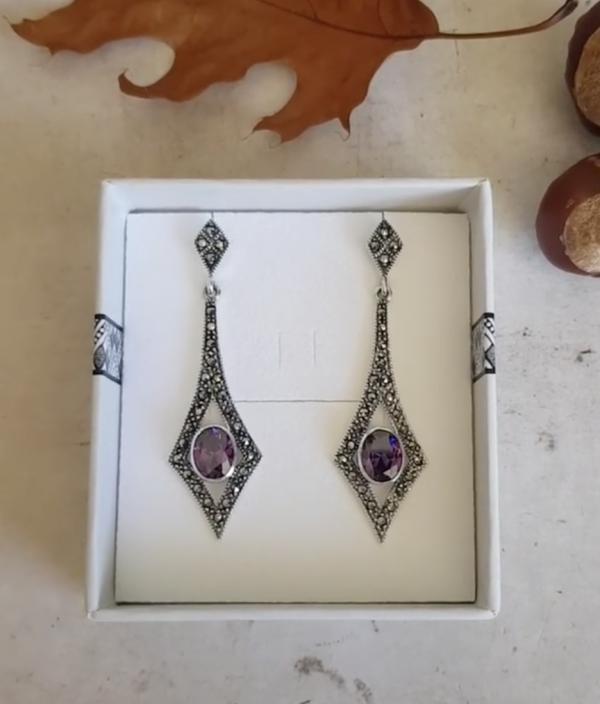 violet sparkle marcasite earrings