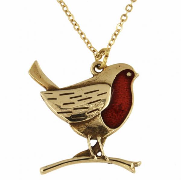 robin bronze pendant