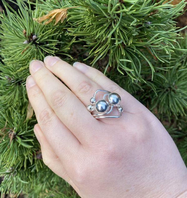 silver balls ring