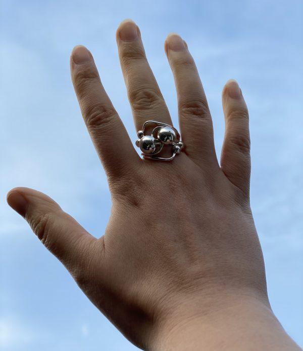 silver balls ring on sky far
