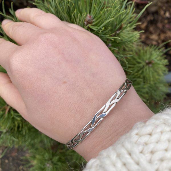 silver woven bangle on LJ