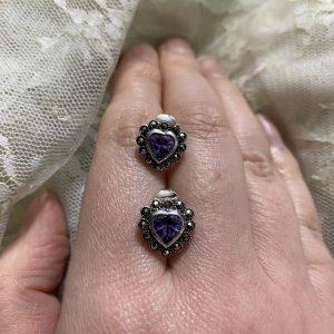 marcasite purple heart stud earrings on LJ
